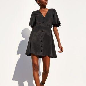Zara Button Dress w/Flutter Sleeves in XL (NWT)